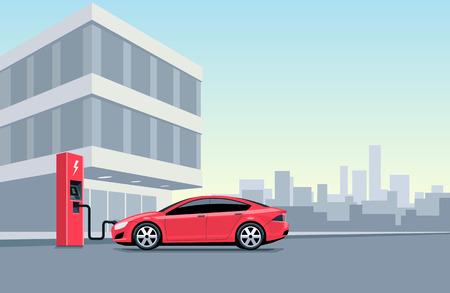 都市のオフィスビルの前で充電ステーションで充電赤い電気車のフラット ベクトル イラスト。Electromobility 電子動きの概念。作業時間中に車両を充電します。 写真素材 - 52435636