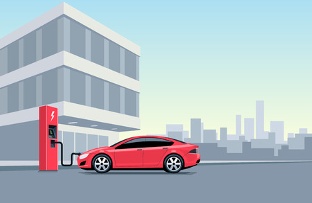 Flat vector illustration of a red electric car charging at the charger station in front of the office building in the city. Electromobility e-motion concept. Charge the vehicle during work time.