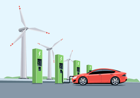 powerhouse: Flat vector illustration of a red electric car charging at the charger station in front of the windmills. Electromobility e-motion concept.