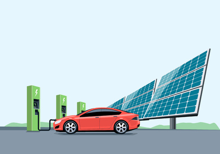 Flat vector illustration of a red electric car charging at the charger station in front of the solar panel plant. Electromobility e-motion concept.