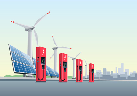 powerhouse: Vector illustration of a red electric charging stations in front of the windmills and solar panels. The city is in the background. Electromobility e-motion concept.