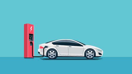 vehicle: Flat vector illustration of a red electric car charging at the charger station. Electromobility e-motion concept.
