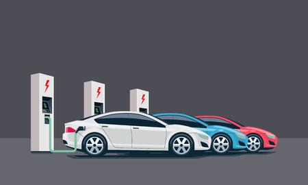Płaski ilustracji wektorowych trzech samochodów elektrycznych ładowania w stacji białego ładowarki. Koncepcja e-motion elektromagnetyczności. Trzy elektryczne ładowarki.