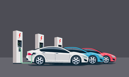 Flat vector illustration of three electric cars charging at the white charger station. Electromobility e-motion concept. Three electric battery chargers.