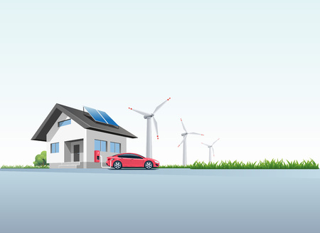 Flat vector illustration of a red electric car charging at the wall charging station placed on a house with solar panels. Wind turbines are in the background. Electromobility home charging e-motion concept.