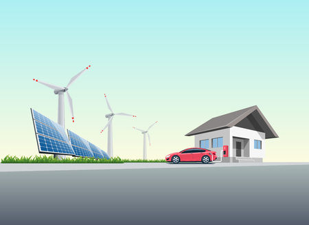 Flat vector illustration of a red electric car charging at the wall charging station placed on a house near solar panels and wind turbines producing electricity. Charge at home concept.