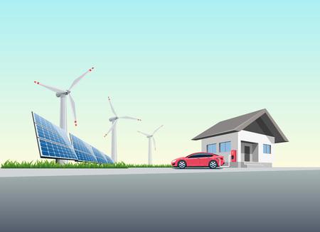ilustración vectorial plana de un coche eléctrico rojo de carga en la estación de carga de pared colocada en una casa cerca de los paneles solares y turbinas de viento para producir electricidad. Cargar al concepto de hogar. Ilustración de vector