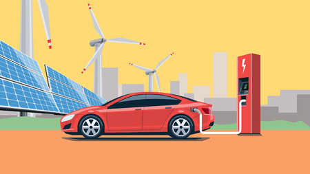 eco car: Flat vector illustration of a red electric car charging at the charger station in front of the solar panels and wind turbines. City skyline in the background. Warm retro feeling. Electromobility e-motion concept. Illustration