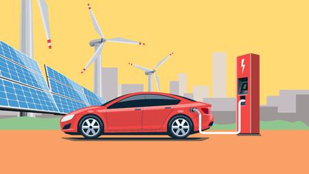 Płaski ilustracji wektorowych czerwonego samochodu elektrycznego ładowania w stacji ładowania przed paneli słonecznych i turbin wiatrowych. Panoramę miasta w tle. Ciepłe retro uczucie. Elektromobilność koncepcja e-motion.