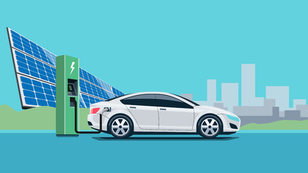 Flat vector illustration of a white electric car charging at the charger station in front of the solar panel plant. Electromobility e-motion concept with city skyline in the background.