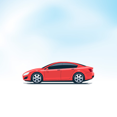 car side view: Flat vector illustration of an isolated vector red car side view in cartoon style. Decent sky in the background. Illustration