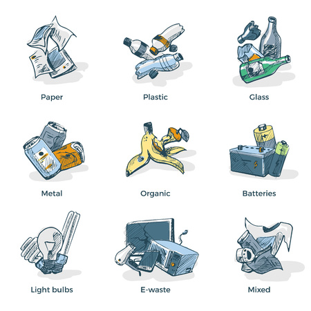 recycling bottles: Hand drawn vector illustration sketch of trash categories with organic, paper, plastic, glass, metal, e-waste, batteries, light bulbs and mixed waste. Waste types segregation recycling management concept.
