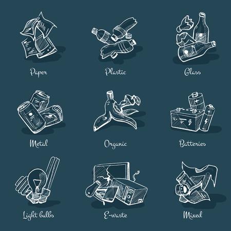 basura organica: Mano vector dibujado en el pizarrón. Bosquejo de las categorías de basura con orgánico, papel, plástico, vidrio, metal, desechos electrónicos, baterías, bombillas y residuos mezclados. Tipos de desechos concepto de gestión de reciclaje de la segregación.