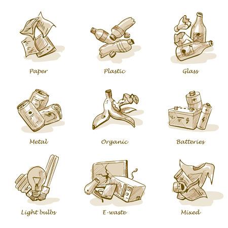 basura organica: Dibujado a mano ilustración vectorial esbozo de las categorías de basura con orgánico, papel, plástico, vidrio, metal, desechos electrónicos, baterías, bombillas y residuos mezclados. Tipos de desechos concepto de gestión de reciclaje de la segregación. Vectores