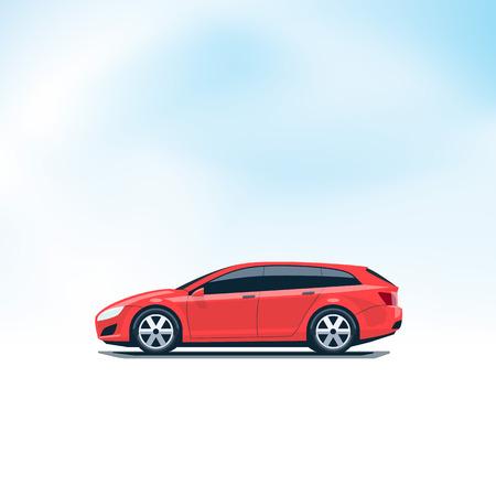 Flache Vektor-Illustration eines isolierten Vektor-roten Auto Kombi Kombi. Seitenansicht im Cartoon-Stil. Decent Himmel im Hintergrund.
