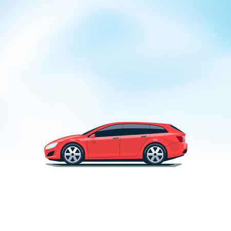 side profile: Flat vector illustration of an isolated vector red car station wagon combi. Side view in cartoon style. Decent sky in the background.