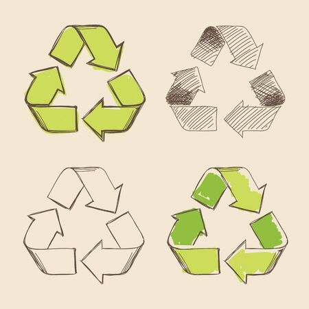 recycling symbols: Set of four isolated hand drawing vector recycling symbols.