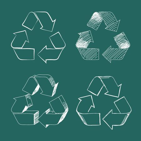 green board: Set of four white isolated  recycle symbols on green board. Illustration