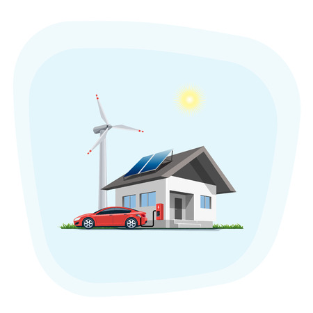 panels: Flat illustration of a red electric car charging at the wall charging station placed on a house with solar panels. Wind turbines are in the backround. Electromobility home charging e-motion concept. Illustration