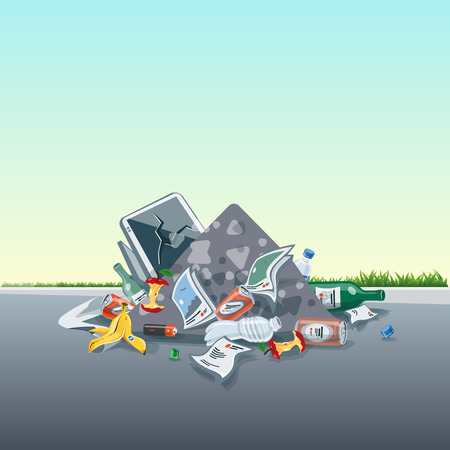 fallen: illustration of littering waste pile that have been disposed improperly, without consent, at an inappropriate location around on the street exterior. Trash is fallen on the ground and creates a big stack.