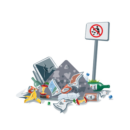plastic pollution: illustration of littering waste pile that have been disposed improperly, without consent, at an inappropriate location near the No littering sign board. Trash is fallen on the ground and creates a big stack.