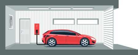Flat illustration of a red electric car charging at the charger station point inside home garage. Integrated smart domestic electromobility e-motion concept. Ilustração