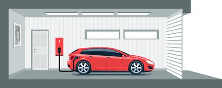 enchufe: Ilustración plana de un coche eléctrico rojo de carga en el punto de estación de carga dentro de la casa de garaje. movilidad eléctrica doméstica concepto de e-inteligente de movimiento integrado. Vectores
