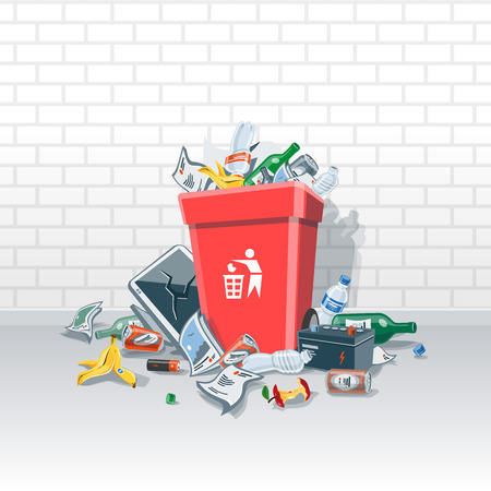illustration of littering waste that have been disposed improperly, without consent, at an inappropriate location around the red dust bin on the street exterior in front of a brick wall. Garbage can is full of trash. Trash is fallen on the ground. Vectores