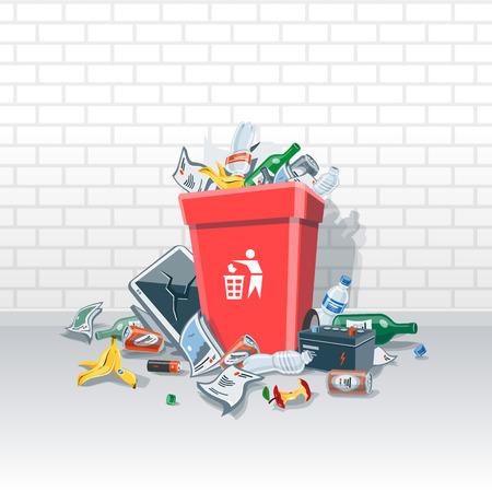 separacion de basura: Ilustración de los residuos tirar basura que se han dispuesto de forma inadecuada, sin consentimiento, en un lugar apropiado alrededor del cubo de basura de color rojo en el exterior calle frente a una pared de ladrillos. Cubo de basura está lleno de basura. La basura ha caído en el suelo.