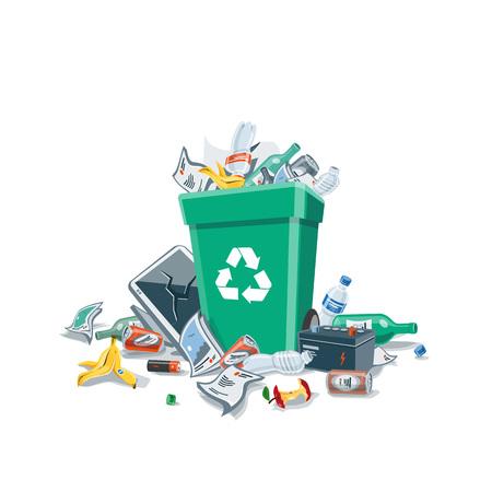 Rommel maken van afval dat niet goed is geplaatst op een ongeschikte locatie in de buurt van de groene vuilnisbak. Geïsoleerde vector illustratie op een witte achtergrond. Vuilnisbak vol prullenbak. Trash is op de grond gevallen.