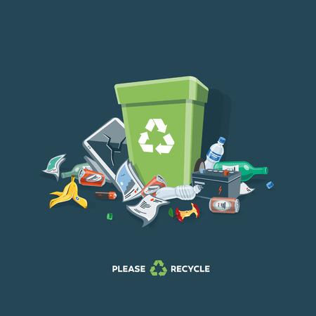 botar basura: Tirar basura los residuos que se han dispuesto inadecuadamente en un lugar apropiado alrededor del cubo de la basura verde. ilustración vectorial aislados en fondo oscuro. Cubo de basura está lleno de basura. La basura ha caído en el suelo. Vectores