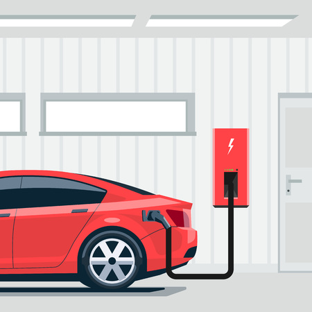 domestic garage: Flat vector illustration of a red electric car sedan charging at the charger station point inside home garage. Integrated smart domestic electromobility e-motion concept. Illustration