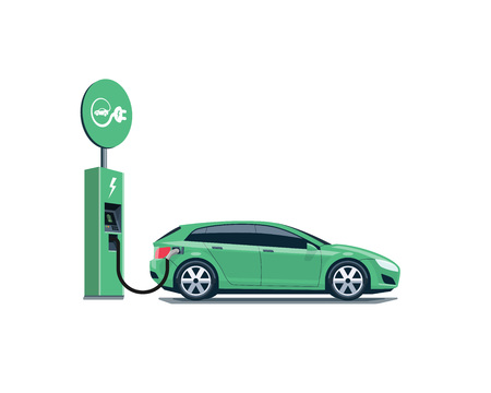 Flat illustration of a green electric car charging at the charger station with road sign. Иллюстрация
