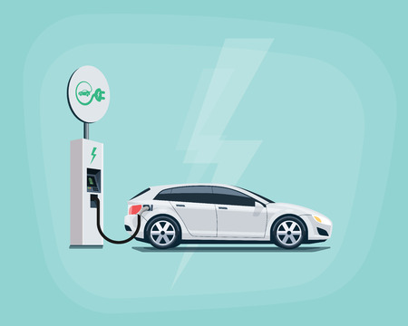Flat illustration of a white electric car charging at the charger station with road sign. Electromobility eco e-motion concept. Electric car charging on pastel turquoise background.