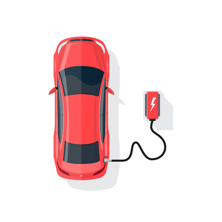 Flat illustration of a red electric car charging at the charger station in cartoon style. Electromobility eco e-motion concept. Top view of an electric car charging on white background.