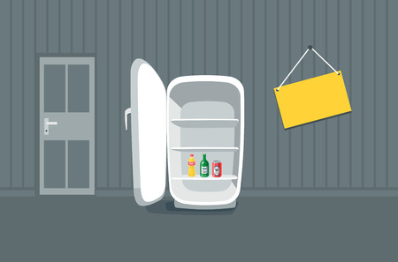 cold room: Opened empty broken fridge vector illustration in cartoon style. Broken fridge standing in front of the wall in the room. Sign board hanging on the wall near the fridge with drink bottle beverages inside. Illustration