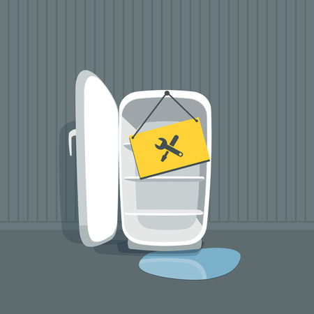 cold room: Opened empty broken fridge with water flowing out. Freezer is standing in front of the wall in the room. Sign board with maintenace icon hanging on the fridge. Vector illustration in cartoon style.