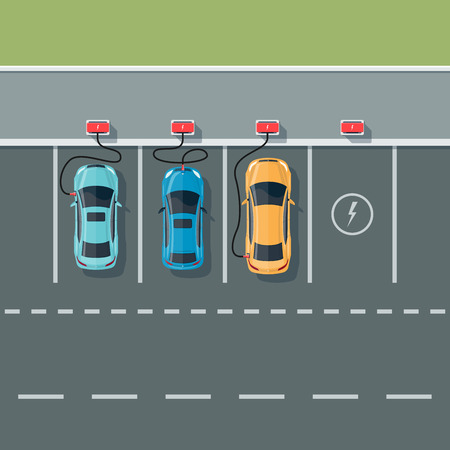 cars parking: Flat illustration of electric cars charging at the charger station in cartoon style. Electromobility eco e-motion concept. Top view of cars parking and charging the batteries with road background.