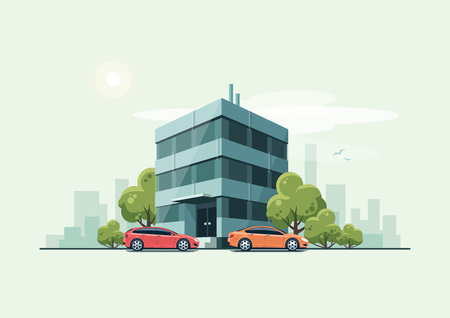green building: illustration of modern business office building with green trees and cars parked in front of the workplace in cartoon style. House has glass facade. City skyscrapers skyline on green turquoise background.