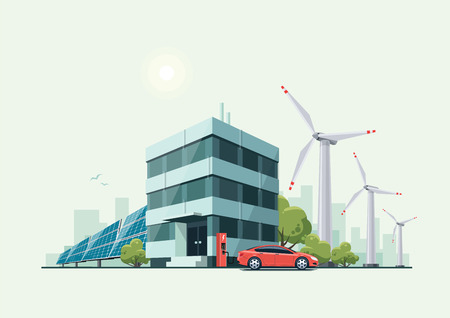 green building: illustration of modern green eco business office building with green trees and electric car charging in front of the workplace in cartoon style. Solar panels and wind turbines are int the background.
