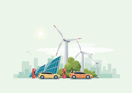 Los coches eléctricos de carga en la estación de carga delante de los paneles solares y turbinas de viento. horizonte de la ciudad en el fondo.
