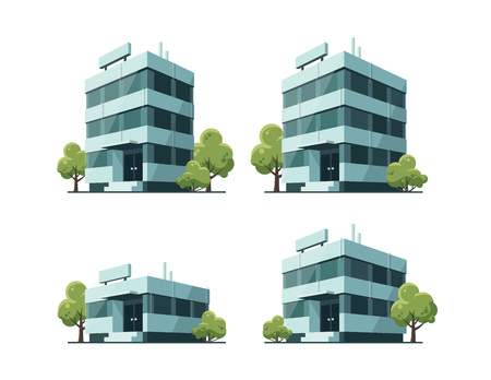 Four office vector buildings illustrations in perspective view with blue green glass facade and green trees in cartoon style.