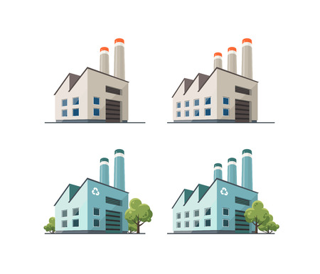 power industry: Perspective view on four power electricity industry factory building in cartoon style. Green manufacturing and ecology recycling producing. Isolated vector flat illustration.