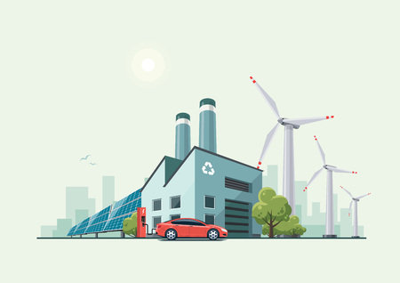 Vector illustration of modern green eco factory building with green trees and electric car charging in front of the manufactory in cartoon style. Solar panels and wind turbines in the background.