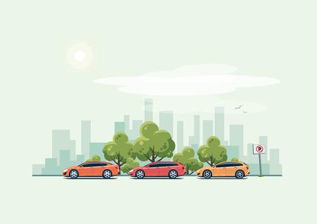 Vector illustratie van de moderne auto's te parkeren langs de straat in de stad met groene bomen in cartoon-stijl. Hatchback, stationwagen en sedan geparkeerd op de verkeerde plaats met geen parkeerplaats teken. Stad wolkenkrabbers skyline op groene turkooise achtergrond.