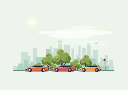 Vector illustration of modern cars parking along the city street with green trees in cartoon style. Hatchback, station wagon and sedan parked on wrong place with no parking sign. City skyscrapers skyline on green turquoise background. Ilustração