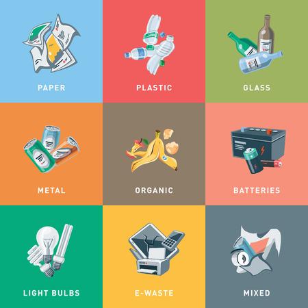 Illustration colorée des catégories de séparation des déchets avec des matières organiques, papier, plastique, verre, métal, déchets électroniques, piles, ampoules et ordures mixtes en style dessin animé. Concept de gestion du recyclage des types de déchets.