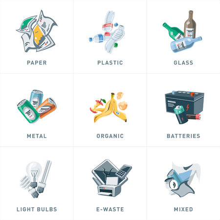 segregation: Illustration of isolated trash separationcategories with organic, paper, plastic, glass, metal, e-waste, batteries, light bulbs and mixed garbage on white background. Waste types segregation recycling management concept in cartoon style.