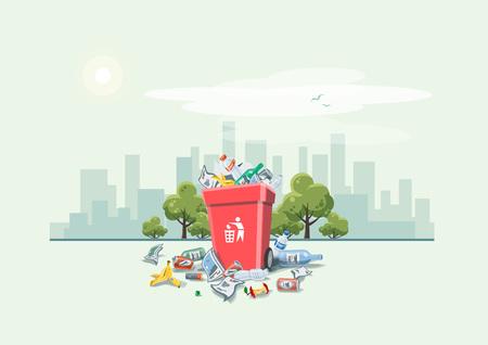 tirar basura: Ilustraci�n del vector de los residuos tirar basura que se han dispuesto inadecuadamente alrededor del cubo de basura de color rojo en la calle exterior con rascacielos Horizonte de la ciudad en el fondo. Cubo de basura lleno de basura que desborda. La basura ha ca�do en el estilo de dibujos animados suelo. Vectores