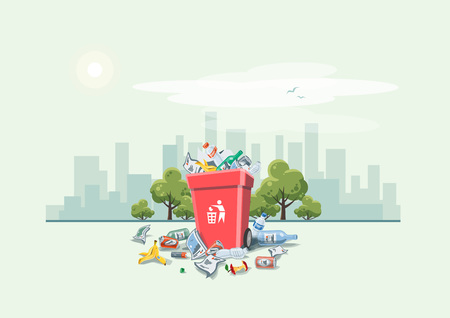 leavings: Vector illustration of littering waste that have been disposed improperly around the red dust bin on street exterior with city skyscrapers skyline in the background. Garbage can full of overflowing trash. Trash is fallen on the ground, cartoon style.